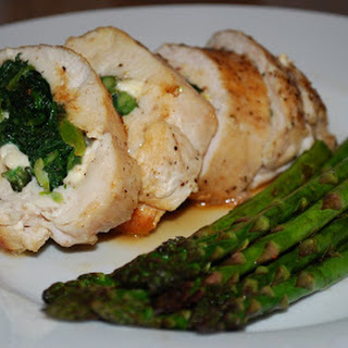 Stuffed Chicken Breast w/Spinach and Asparagus.