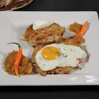 Potato and Carrot Latkes with Indian Spiced Apple Sauce