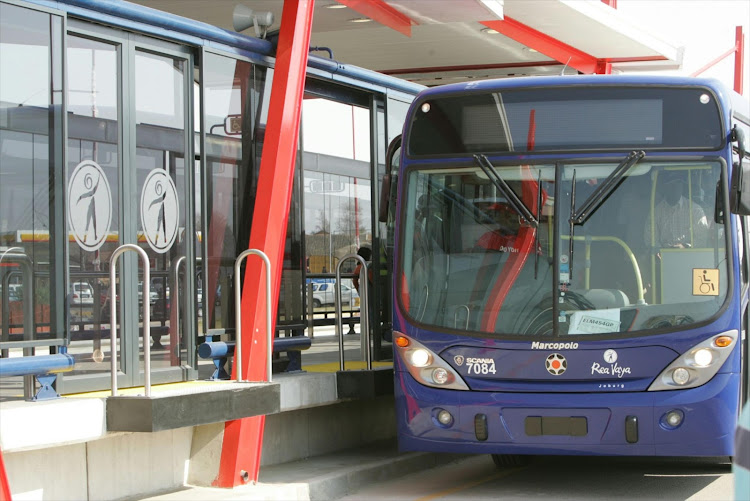A Rea Vaya bus. The City of Joburg is looking at public transport to try to alleviate the congestion problems the city faces.