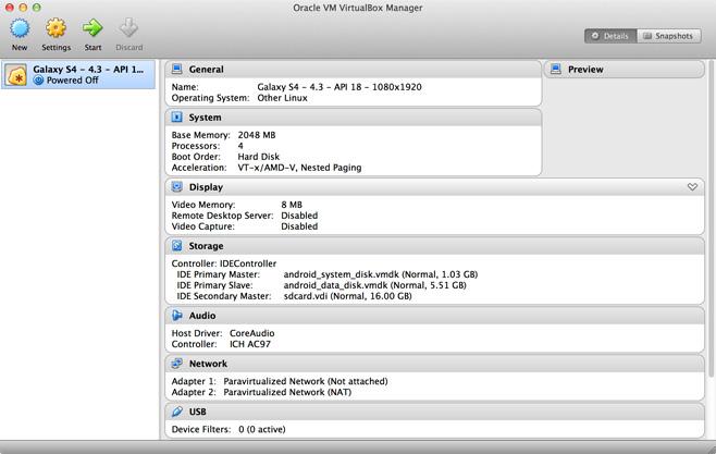VirtualBox Device View