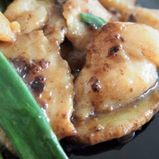 """""""Explosively stir-fried"""" fish with ginger and spring onions 爆炒姜葱鱼片."""