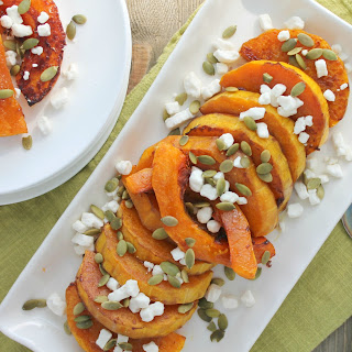 Roasted Butternut Squash with Goat Cheese and Pumpkin Seeds