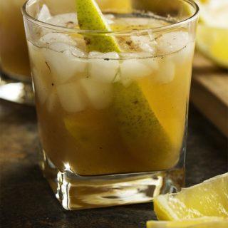 Pear Bourbon Smash Cocktail.
