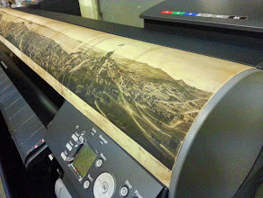 Photo: My printer with an Antique Map of SF on adhesive fabric paper (stuck to printer)
