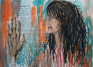 """Photo: """"A Palmistry, a Psalm"""", 2012, Brenda Clews,18"""" x 24"""", charcoal, oils, oil pastels, oil sticks on triple-primed cotton canvas sheet."""
