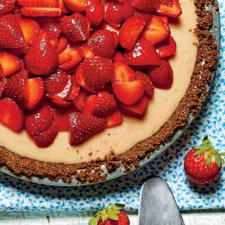 Strawberry-Lemon-Buttermilk Icebox Pie with Baked Gingersnap Crust.