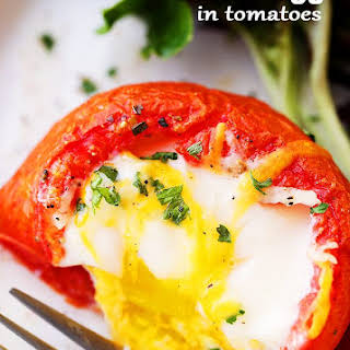 Baked Eggs in Tomato Cups.