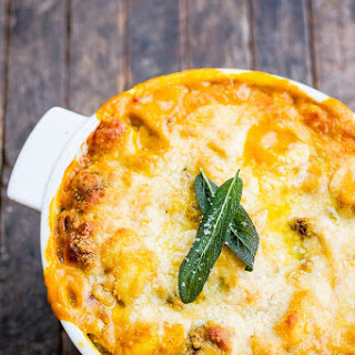 Creamy Baked Pumpkin Gnocchi with Italian Sausage.