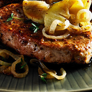Pork Cutlet with Apples and Onions.