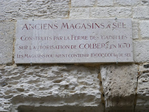 Photo: The sign on one of the old salt warehouses remaining. Before refrigeration, Honfleur's fishing fleets relied on salt to preserve the catch. As noted, this warehouse could hold up to 10,000 tons.