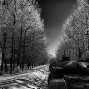Tank by Dian Anugrah - Illustration Sci Fi & Fantasy ( tree, tank. snow, white, road, black )