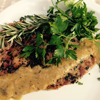 Herb Crusted Steak with Mustard Pan Sauce (Click on title for printable recipe)