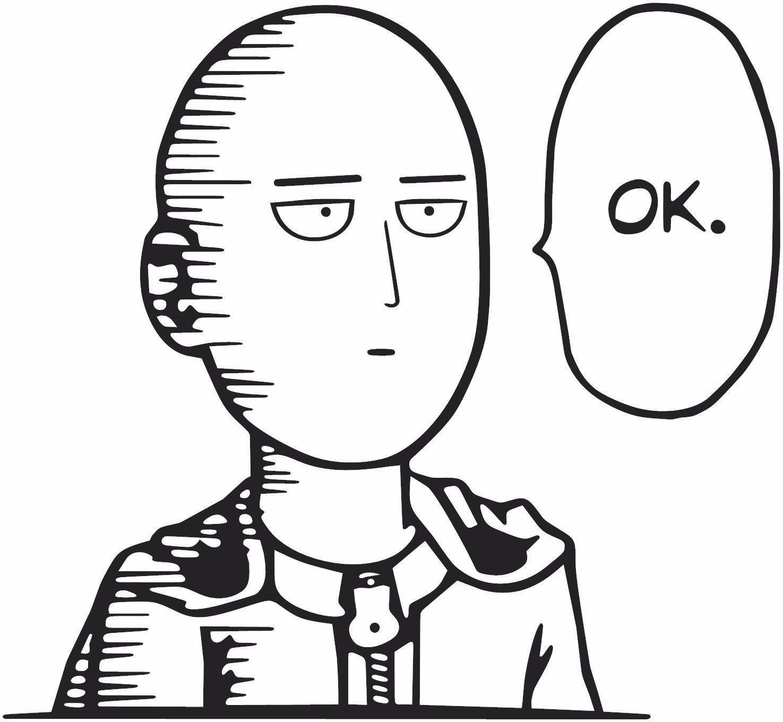 One Punch Man -- Saitama OK Anime Decal Sticker – KyokoVinyl