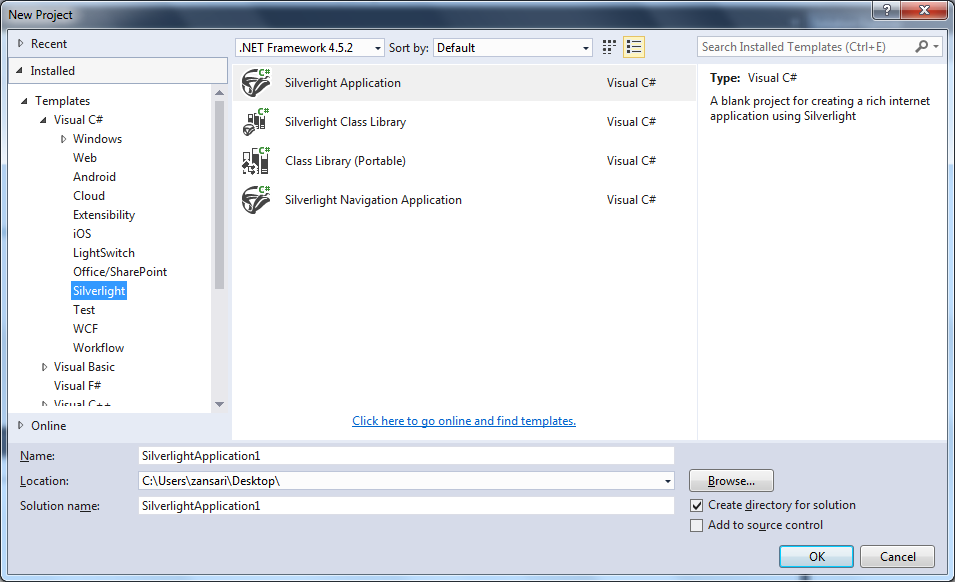 Creating a Silverlight project