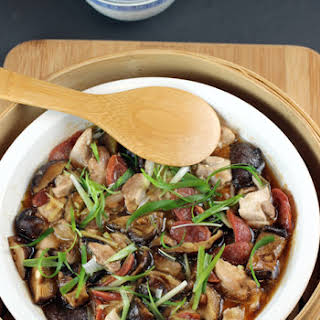 Steamed Chicken and Chinese Sausage.