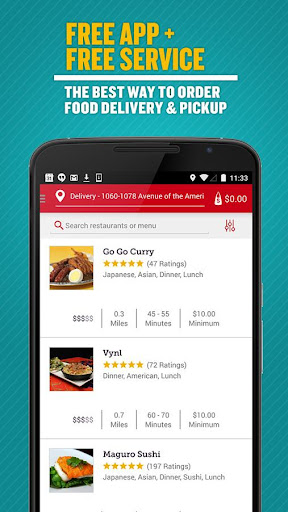 Seamless Food Delivery/Takeout Screenshot