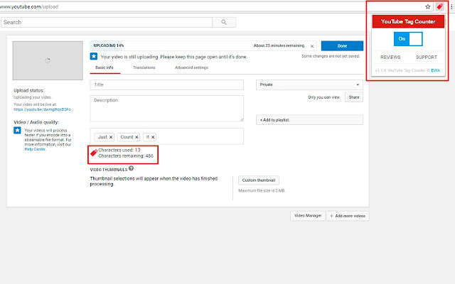 YouTube Tag Counter