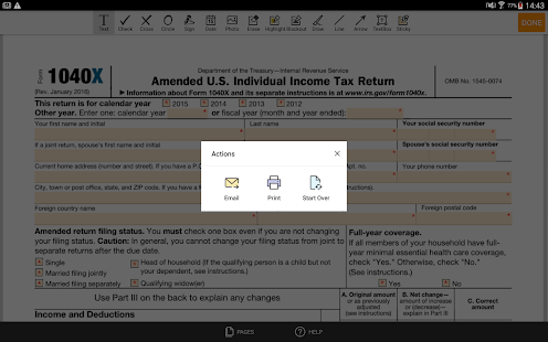 Irs Form 1040x Sign Personal Income Tax Eform Apps On Google Play
