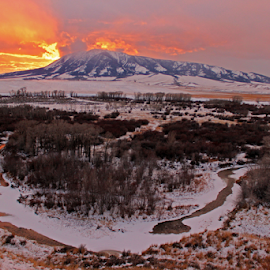 by Kirby Hornbeck - Landscapes Sunsets & Sunrises ( rivers, landscapes, mountains, sunrises, winter, sunsets, wyoming )