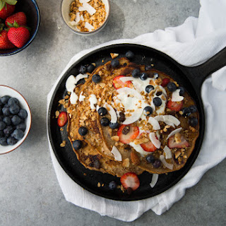 Skillet Quinoa And Buttermilk Berry Pancakes With Shaved Coconut.
