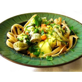 Zesty Zucchini Ribbons, Artichokes & Mixed Beans With Wheat Fettuccine