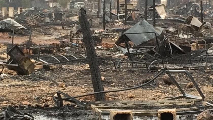 Así ha quedado el poblado de Nijar tras el fuego. Foto: Amigos del Parque de Cabo de Gata.