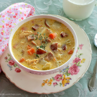 Fully Loaded Cheesy Ham & Chicken Chowder