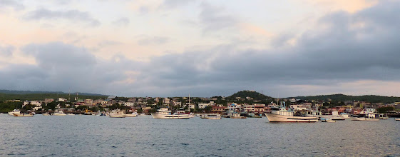 Photo: Puerto Baquerizo Moreno at sunset