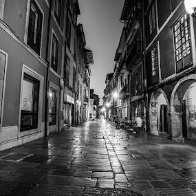 Avilés, Asturias, Spain  by Danny Andreini - City,  Street & Park  Street Scenes ( asturias, street, night, avilés, spain,  )