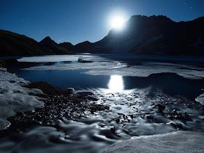 Photo: Full moon at Columbine Lake, July.