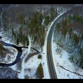 by Olivier Grau - Landscapes Weather ( drone, winter, creek, snow, trees, aerial,  )