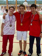 Photo: Simple Hommes Cadets Médaille d'Or: Robin Klein Médaille d'Argent: Victor Enescu Médaille de Bronze: Pierre Ordureau (manque sur la photo)