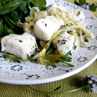White Fish in Coconut Milk Sauce spruced with Ginger, Lemon and Mint