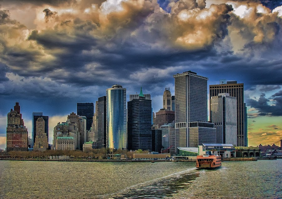 NYC 2006 by Axel K. Böttcher - City,  Street & Park  Skylines ( clouds, skyline, ferry, reflections, new york,  )