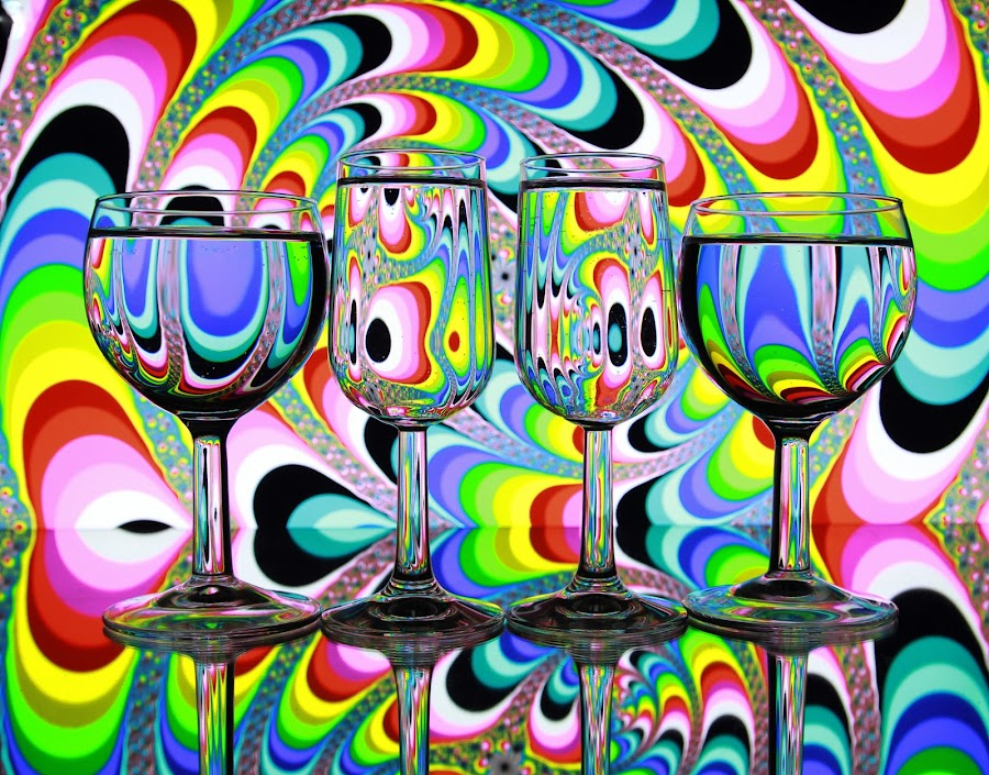 Glasses and patterns by Peter Salmon - Abstract Patterns