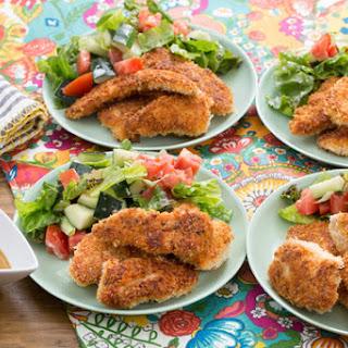 Crispy Chicken Tenders with Honey Mustard & Tomato-Cucumber Salad