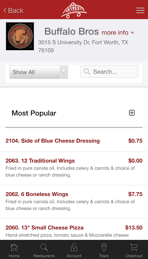 Entrees on Trays- screenshot