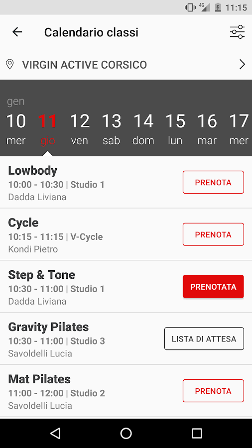 MyVirginActive- screenshot