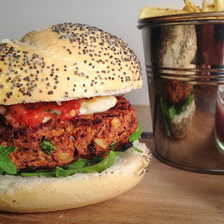 Spicy Bean Burger with Shoestring Fries.