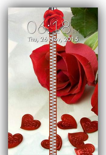 Rose Love Zipper Lock Screen