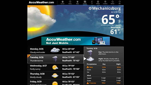 AccuWeather for Sony Tablet P screenshot 2