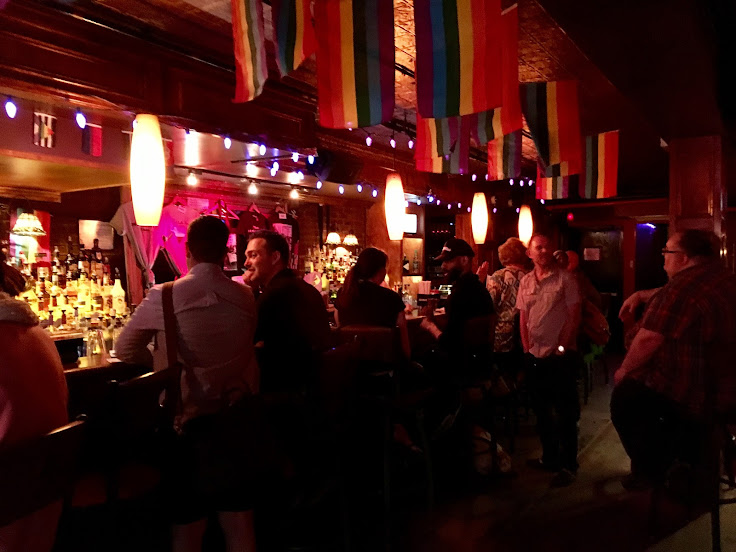 The dark interior in Stonewall.