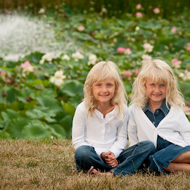 Fall Shoot by Wilson Silverthorne - Babies & Children Child Portraits ( fountain, flowers, children, girls, boy )