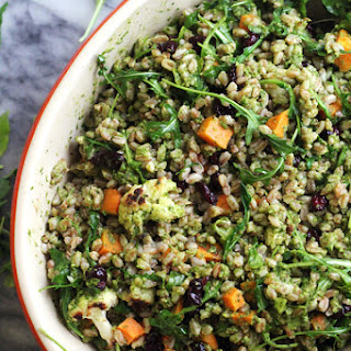 Warm Farro Bowl with Roasted Vegetables and a Kale Pesto Vinaigrette.