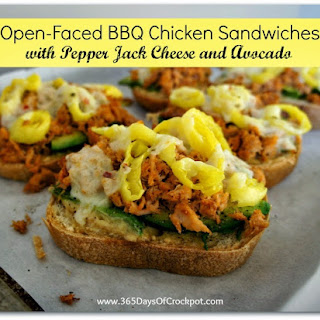 Slow Cooker BBQ Chicken Open-Faced Sandwich with Pepper Jack Cheese and Avocado.