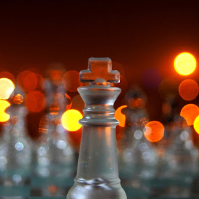 R4S You Fight Alone by Ritwick Srivastava - Artistic Objects Other Objects ( orange, fight, glass, chess, crystal, light,  )