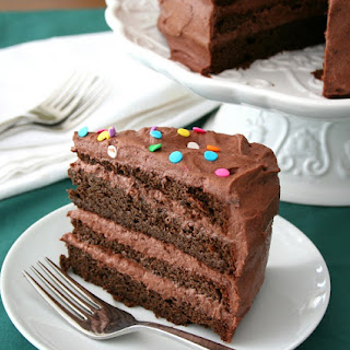 Chocolate Layer Cake with Chocolate Sour Cream Frosting (Low Carb and Gluten-Free).