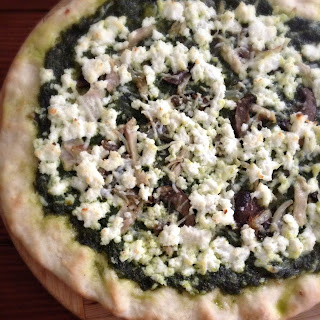 Pesto Pizza with Ricotta and Mushrooms