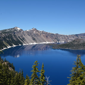 Crater Lake by Donald Casad - Landscapes Waterscapes ( mountains, blue, reflections, trees, lake,  )