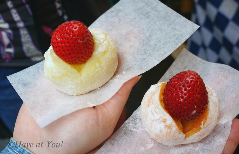 strawberries on mochi